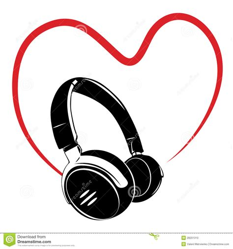 headphone and heart stock photo image 28201310