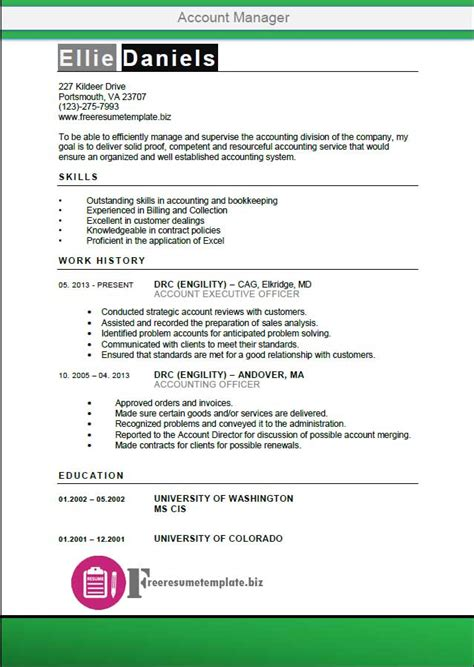 account manager resume template get the