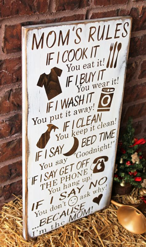 christmas presents for mom gifts for mom mom s rules rustic wood sign by