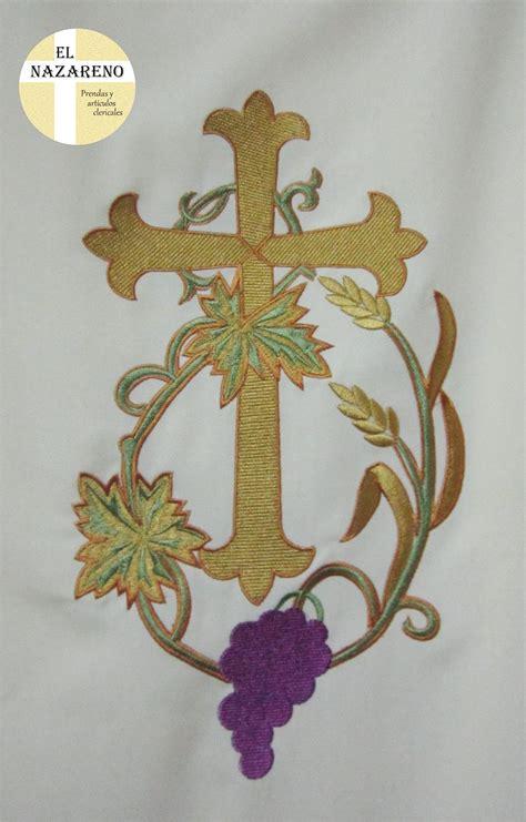 Imagenes De Uvas Con Espigas | dalm 225 tica crema bordada cruz uvas y espigas 171 el