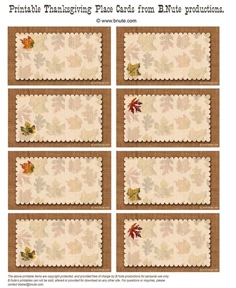 place cards template thanksgiving 6 best images of free printable placecards wedding place