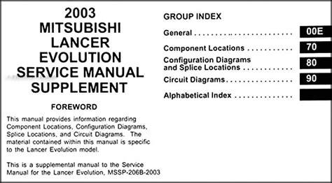 car maintenance manuals 2003 mitsubishi lancer evolution user handbook 2003 mitsubishi lancer evolution wiring diagram manual original