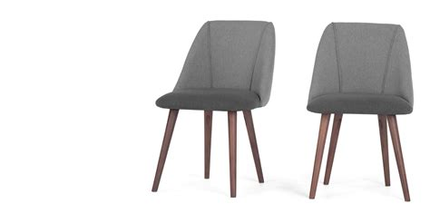 Dining Chairs Walnut Legs 2 X Lule Dining Chairs Marl And Hail Grey With Walnut Legs Made