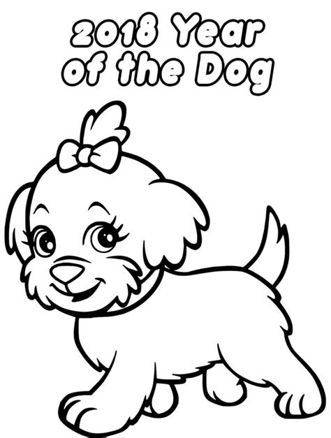coloring pages year of the dog printable new year 2018 coloring pages