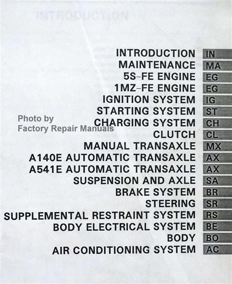service manuals schematics 1996 toyota camry user handbook 1996 toyota camry factory service manual original shop repair factory repair manuals