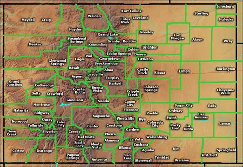 map of cities in colorado units of map of colorado cities major cities point