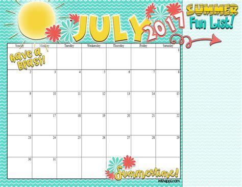 Printable Summer Calendar 2017