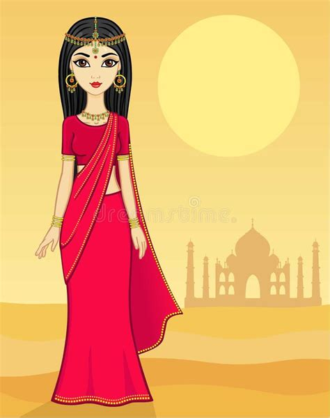 cartoon indian princess dress animation indian princess stock vector illustration of