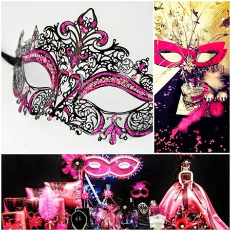 quinceanera mask themes hot pink fuchsia and black masquerade ball sweet fifteen