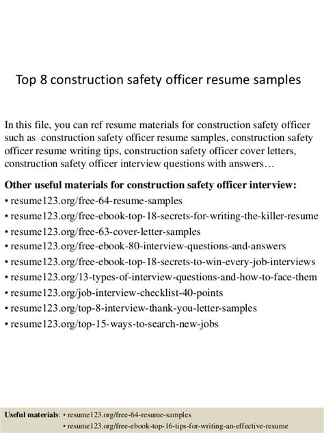construction safety manager resume sle top 8 construction safety officer resume sles