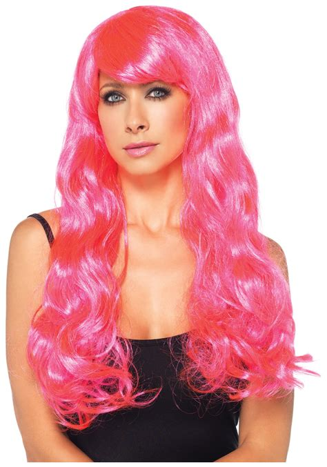 with wig neon pink wig