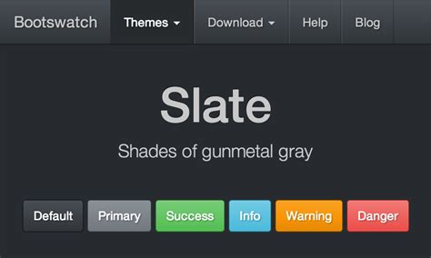 bootstrap themes slate bootswatch free themes for bootstrap