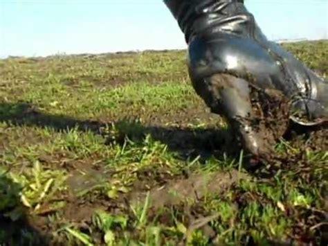 high heels boots in mud stuck