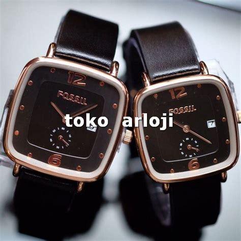 jual jam tangan fossil sepasang detik bawah black angka