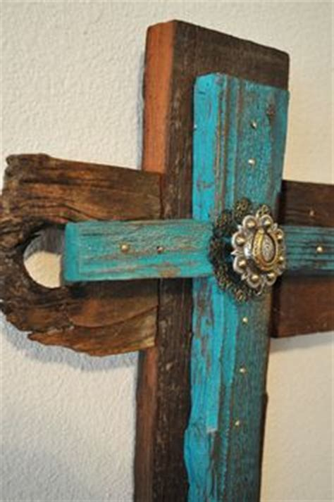 cowhide crosses rustic home decor country home decor teal turquoise cross board hanging wall decor vintage