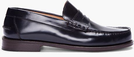 apc loafers a p c midnight blue leather moccasin loafers in blue for