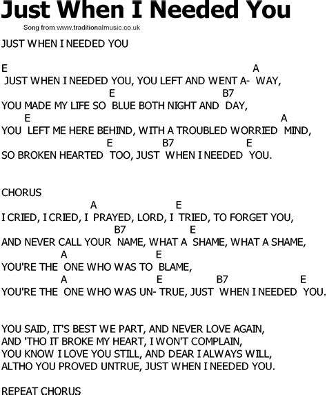 song with lyrics country song lyrics with chords just when i needed you