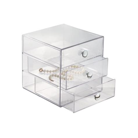 Drawer Jewelry Storage by New Clear 3 Drawer Organizer Unit Box Jewelry And