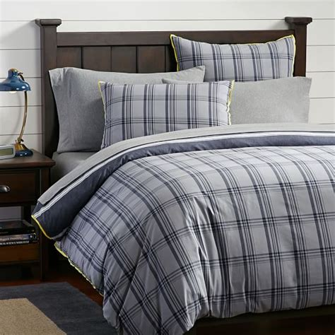 Reversible Duvet Cover Tribeca Plaid Reversible Duvet Cover Sham Pbteen