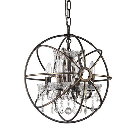 contemporary bronze chandeliers antique bronze globe sphere vintage cage