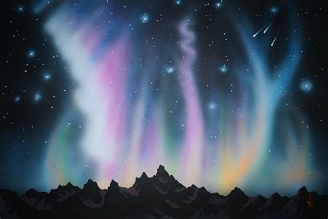 Christmas Scene Wall Murals aurora borealis in the rockies painting by thomas kolendra