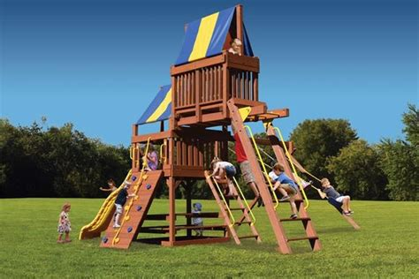 sky fort wooden swing set superior play original fort with monkey bars and sky loft