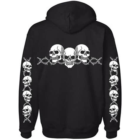 Sweater Hoodie Zipper Hoodie Bikers Triumph 6 barbed wire skull biker hoodie hooded sweatshirt ebay