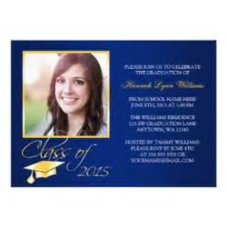 blue gold photo graduation announcement