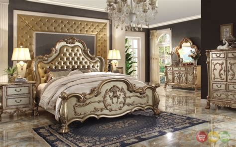 4pc King Bedroom Set by Dresden Luxury Upholstered 4pc King Bedroom Set In Antique