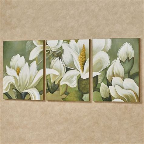 Magnolia Wall Decor by Magnolia Branch Floral Triptych Canvas Wall Set