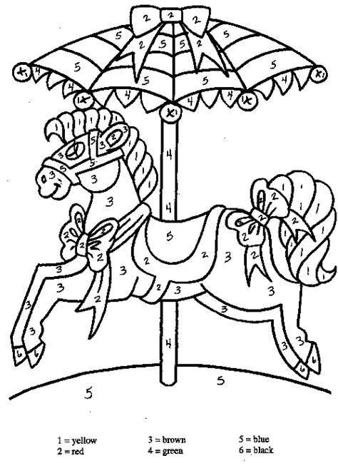 horse coloring pages by numbers carousel horse familycorner com 174 colossal coaster