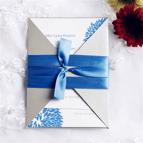 blue dandelion pocket invitation with ribbon iwgy076 wedding invitations - Blue Ribbon Wedding Invitations