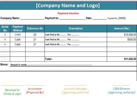 Payment Receipt Voucher Template Excel by 3 Sle Payment Voucher Template Excel Pdf Word