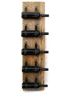 wood amp leather wine rack reclaimed wood and recycled leather 5 bottle wall bottle holder lwr50