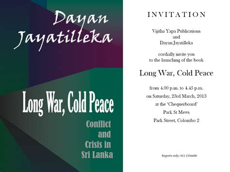 sle invitation card to an event event invitation war cold peace a new book by dr