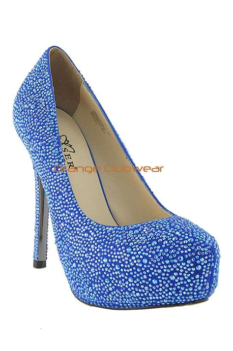 rhinestones high heels pleaser royal blue suede rhinestone covered 5 quot high heels