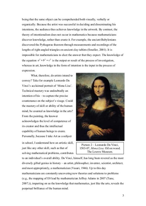 Artistic Essay by Tok Theory Of Knowledge Essay What Counts As Knowledge In The Arts