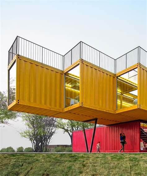 peoples architecture office stacks shipping container