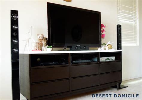 mid century modern dresser turned entertainment center