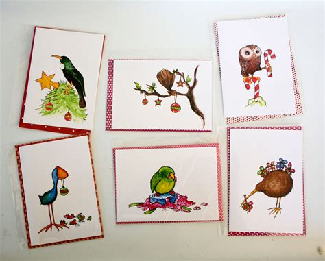 Printable Christmas Cards Nz | 6x nz native birds christmas cards with handmade envelopes