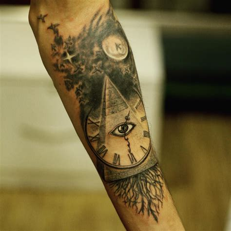 pyramid clock tattoo 18 refreshing pyramid tattoos to try