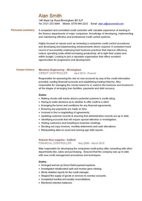 credit controller CV sample, managing information or