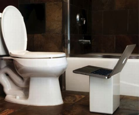 bathtub laptop holder ipoop bathroom wastebasket doubles as a laptop stand