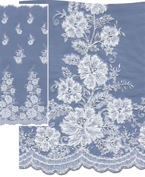 embroidery design nottingham lace flounce assymetrical beaded and sequinned