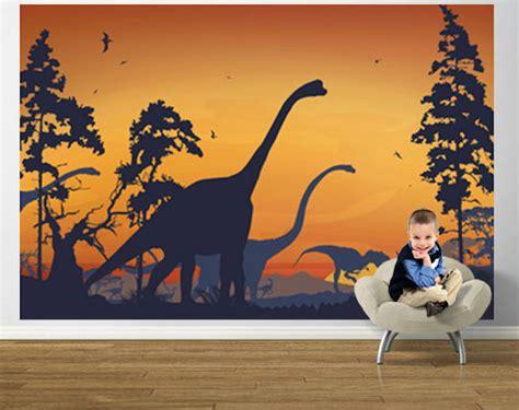 dinosaurs murals walls dinosaur landscape blue and orange prepasted mural