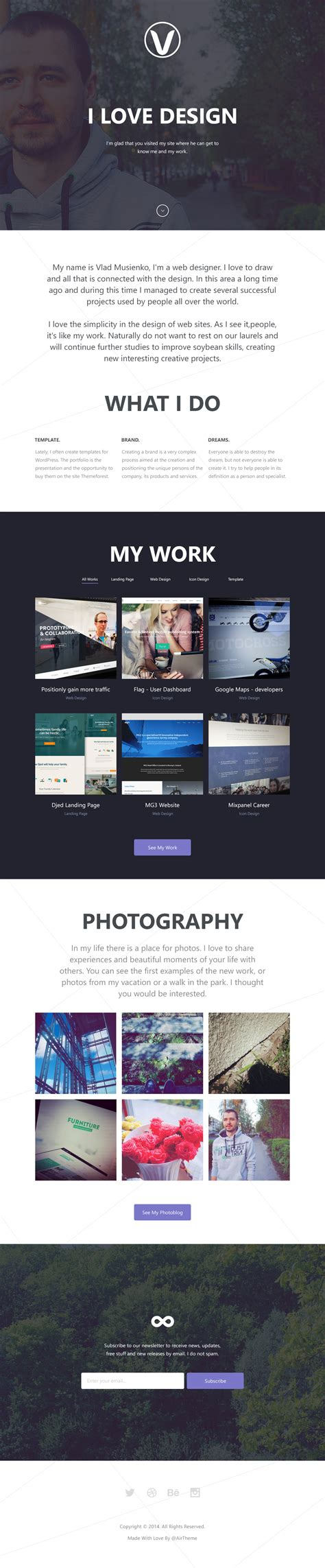 personal portfolio html template free html5 templates