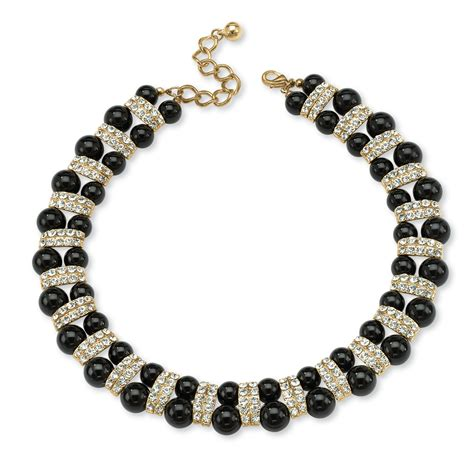 beaded necklace black beaded necklace with accents in yellow gold