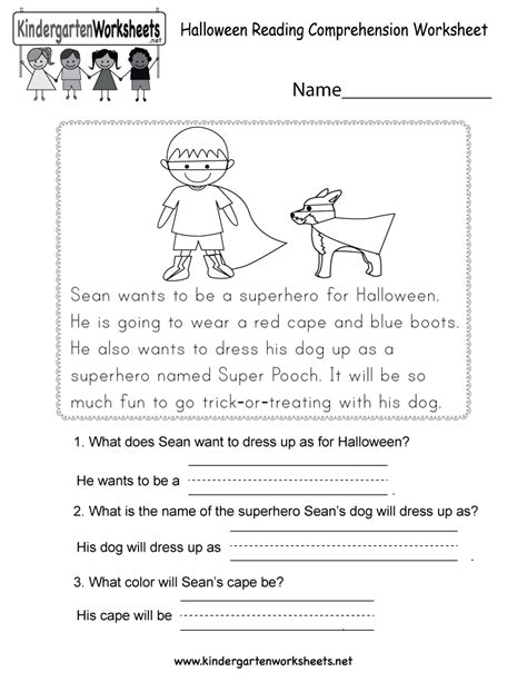 printable english worksheets kindergarten free printable halloween reading comprehension worksheet