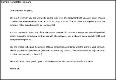 Contract Letter For Employee Employee Contract Termination Letter Template Free Sle Templates