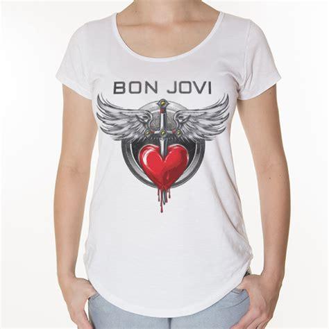 camiseta bon jovi feminina camisetas rockz club